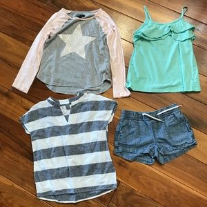 Lot of 4 Girl's Size 8 Tops & Shorts